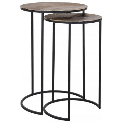 Table d'appoint coloris noir et or industriel en aluminium et fer forgé, L. 42-35 x P. 42-35 x H. 60-55 cm  collection Lohand' Richmond Interiors Richmond Interiors