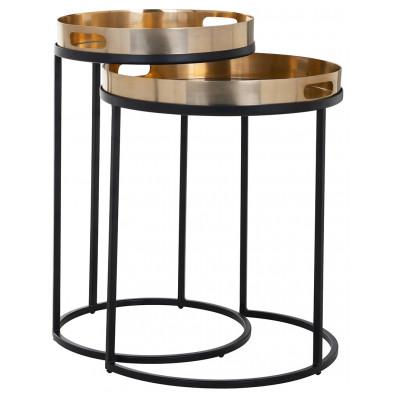 Table d'appoint coloris noir et or industriel en aluminium et fer forgé, L. 35.5-42 x P. 35.5-42 x H. 57-50 cm,  collection Lewis Richmond Interiors Richmond Interiors