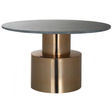 Table d'appoint design coloris gris et or en acier inoxydable et pierre naturel, L. 77 x P. 77 x H. 43.5 cm collection Hogan Richmond Interiors Richmond Interiors