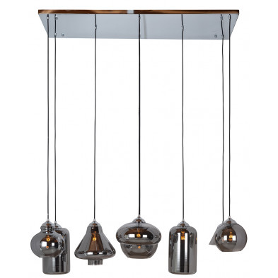 Suspension argenté design en fer forgé et verre, L. 130 x P. 50 x H. 155 cm  collection Crosleya Richmond Interiors Richmond Interiors