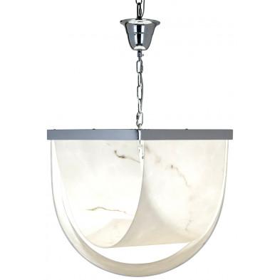 Suspension argenté et blanc design en fer forgé et verre, L. 53 x P. 63 x H. 45 cm collection Colbey Richmond Interiors Richmond Interiors