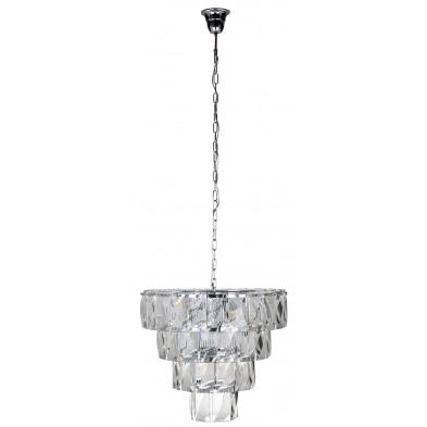 Suspension coloris argenté et transparent design en crystal et fer forgé, L. 60 x P. 60 x H. 53-170 cm  collection Wyne Richmond Interiors Richmond Interiors