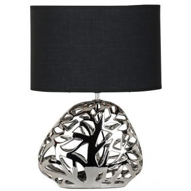 Lampe à poser coloris argenté et noir design en coton et céramique collection Quint L. 35.5 x P. 35.5 x H. 69 cm Richmond Interiors Richmond Interiors