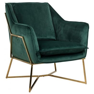 Fauteuil design revêtement velours vert avec piètement en acier couleur or L. 70 x P. 83.5 x H. 86.5 cm  collection Aurelia Richmond Interiors Richmond Interiors