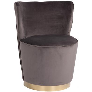 Pouf et tabouret marron design en acier et velours, L. 53 x P. 45 x H. 75.5 cm  collection Hope Richmond Interiors Richmond Interiors