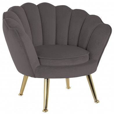 Fauteuil design revêtement en velours marron avec piètement en acier doré ,  collection Charly L. 63 x P. 56 x H. 66 cm Richmond Interiors Richmond Interiors