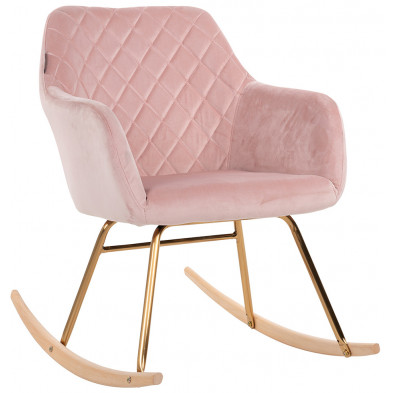 Fauteuil à bascule scandinave revêtement velours rose avec piètements en acier doré et bois Collection Rocky L. 57.5 x P. 80 x H. 79 cm Richmond Interiors Richmond Interiors