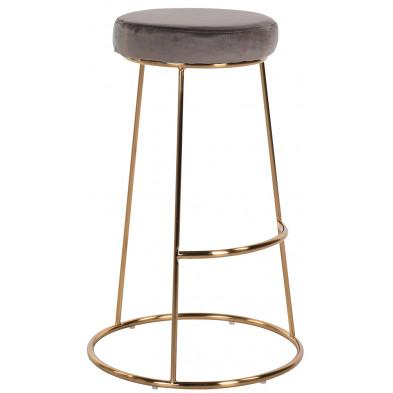 Tabouret de bar design revêtement en velours marron avec piètement en acier doré Collection Brandy L. 43 x P. 43 x H. 74 cm Richmond Interiors Richmond Interiors