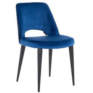 Chaise de salle à manger design revêtement en velours bleu avec piètement en acier noir collection Tabitha L. 49 x P. 62 x H. 85.5 cm Richmond Interiors Richmond Interiors