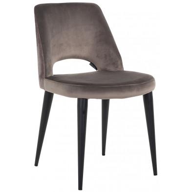 Chaise de salle à manger design revêtement en velours marron avec piètement en acier noir collection Tabitha L. 49 x P. 62 x H. 85.5 cm Richmond Interiors Richmond Interiors