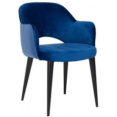 Chaise de salle à manger design revêtement en velours bleu avec piètement en acier noir  collection Giovanna L. 58 x P. 63 x H. 85.5 cm Richmond Interiors Richmond Interiors
