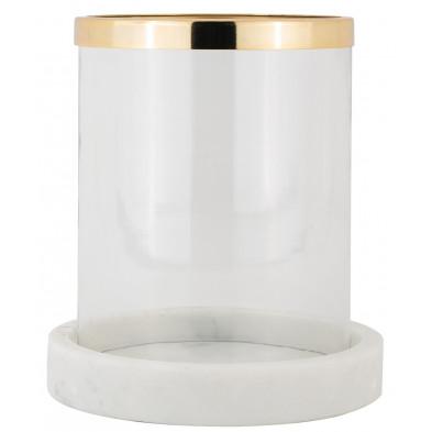 Bougeoir et chandelier coloris or et transparent design en acier et marbre blanc collection Lorne L. 20 x P. 20 x H. 22 cm Richmond Interiors Richmond Interiors