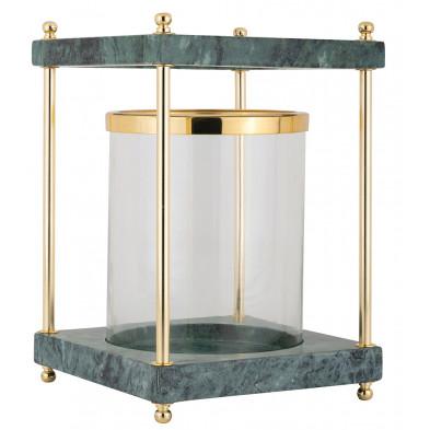 Bougeoir et chandelier coloris or et vert design en acier et marbre  collection Linton L. 20 x P. 20 x H. 29.5 cm Richmond Interiors Richmond Interiors