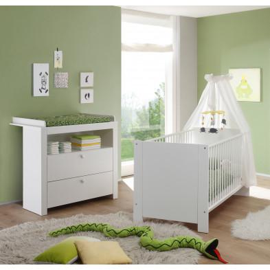 Chambre bébé 2 pièces avec lit 70x140 cm et commode à langer coloris blanc et rose collection Johann