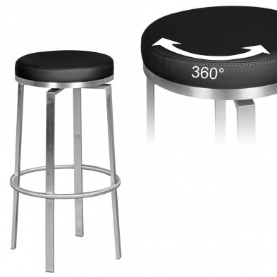 Tabouret de bar noir design en pvc 37 cm de largeur L. 37 x P. 37 x H. 76 cm collection Emmi