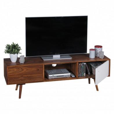 Meuble tv contemporain blanc scandinave en bois massif L. 140 x P. 35 x H. 45 cm collection Doek