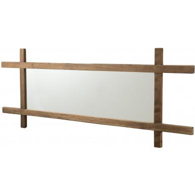 Miroir mural marron industriel en bois massif teck L. 160 x P. 2.8 x H. 60 cm collection Vestigne