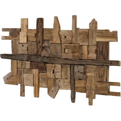 Toiles et tableaux marron rustique en bois massif teck L. 120 x P. 70 x H. 9 cm collection Oldenburger