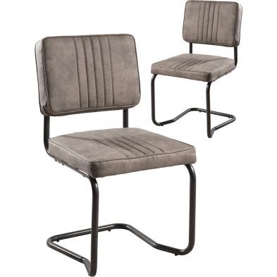 Lot de 2 Chaises de salle à manger Marron Moderne en Acier L. 47 x P. 52 x H. 88 cm collection Zekel