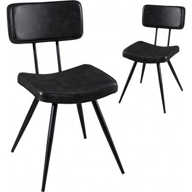 Lot de 2 Chaises de salle à manger Noir Moderne en Acier L. 41 x P. 59 x H. 82 cm collection Perir