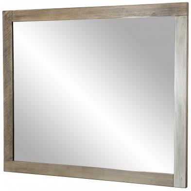 Miroir mural marron vintage en bois massif acacia L. 120 x P. 3 x H. 100 cm collection Laluisiana