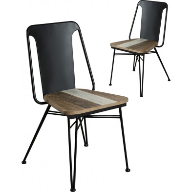 Lot de 2 Chaises de salle à manger moderne Gris Vintage en Acier L. 50.5 x P. 49 x H. 85 cm collection Laluisiana