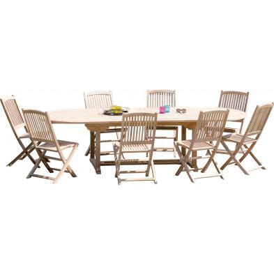Ensemble table et chaise marron contemporain en bois massif teck L. 200/300 x P. 120 x H. 75 cm collection Sechelt