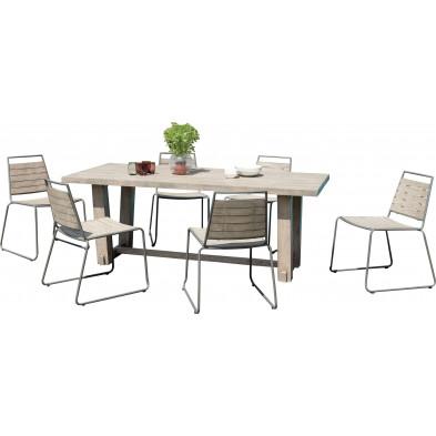 Ensemble table et chaise marron scandinave en bois massif teck L. 200 x P. 90 x H. 75 cm collection Wray