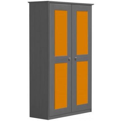 Armoire contemporaine orange  en bois massif    L. 86 x H. 196 cm collection Genoveffa