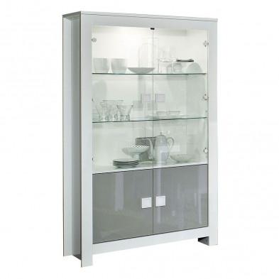 Vitrine blanc design en panneaux de particules de haute qualité L. 112 x P. 44 x H. 190 cm collection Ilene