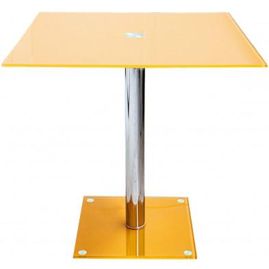 Table de bistrot moderne carrée en verre et métal coloris mangue L. 80 x P. 80 x H. 76 cm collection Gelman