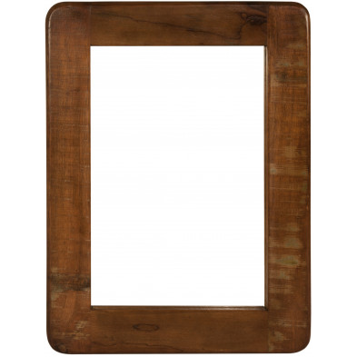 Miroir mural rectangulaire vintage en bois recyclé marron et multicolore L. 60 x P. 3 x H. 80 cm collection Kingsnorton
