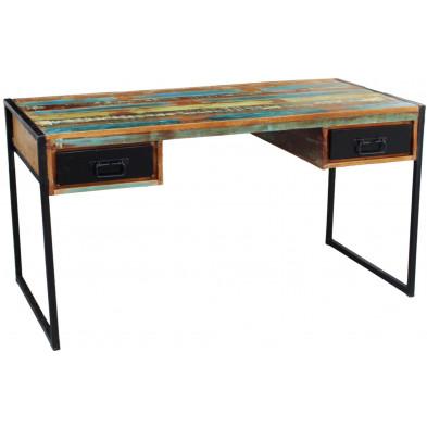 Bureau rustique en bois recyclé et métal avec  2 tiroirs coloris marron et multicolore L. 145 x P. 70 x H. 76 cm collection Fleischman