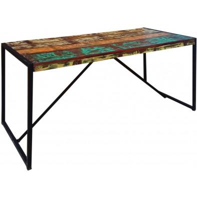 Table de salle à manger rustique en bois recyclé et métal coloris marron et multicolore  avec une épaisseur plateau de 20 mm L. 145 x P. 70 x H. 76 cm collection Fleischman
