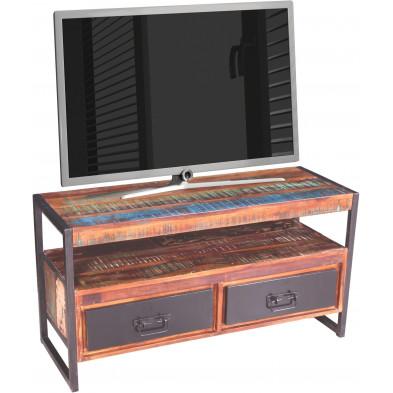 Meuble TV rustique en bois recyclé et métal avec 2 tiroirs et 1 compartiment coloris marron et multicolore L. 107 x P. 40 x H. 56 cm collection Fleischman