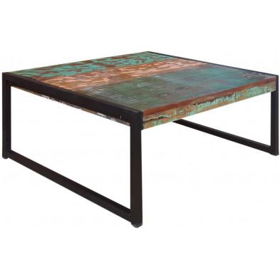 Table basse carrée rustique  en bois recyclé et métal coloris marron et multicolore L. 70 x P. 70 x H. 35 cm collection Fleischman
