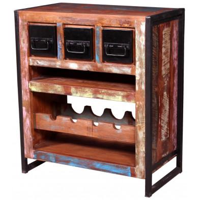 Meuble vitrine rustique en bois recyclé et métal avec 4 compartiments pour bouteilles coloris marron et multicolore L. 75 x P. 40 x H. 85 cm collection Fleischman