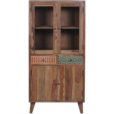 Vitrine  vintage en bois de sheesham avec 4 portes et 2 tiroirs coloris marron et multicolore L. 90 x P. 40 x H. 180 cm collection Ordona