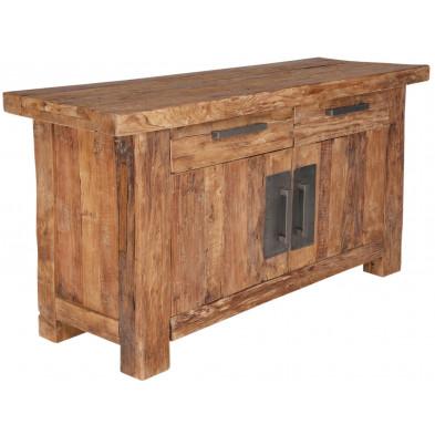 Petit bahut rustique en bois de teck recyclé avec 2 portes et 2 tiroirs coloris naturel L. 125 x P. 45 x H. 78 cm collection Seewald