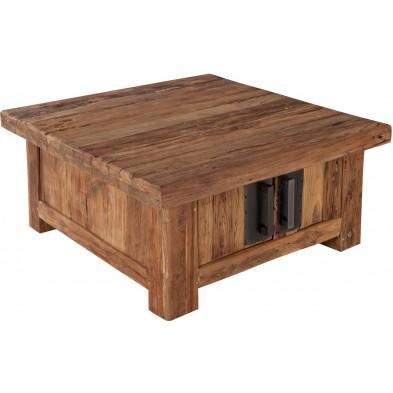 Table basse carrée rustique en bois de teck recyclé avec 4 portes coloris naturel bois L. 85 x P. 85 x H. 40 cm collection Seewald