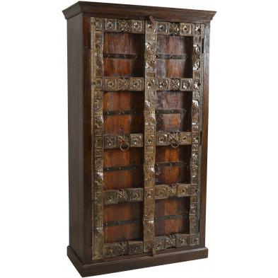 Structure armoire cabinet rustique à 2 portes en bois sculpté recyclé coloris marron foncé L. 100 x P. 45 x H. 180 cm collection Elbrich