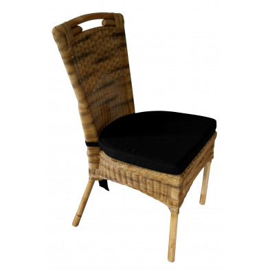 Chaise contemporain en rotin coloris naturel avec petit coussin inclus L. 48 x P. 56 x H. 96 cm collection Smithers