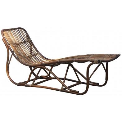 Chaise longue classique en rotin coloris naturel L. 62 x P. 178 x H. 84 cm collection Biggar