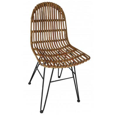 Chaise moderne en rotin naturel et piétement métal coloris brun L. 50 x P. 60 x H. 84.5 cm collection Apfeldorf