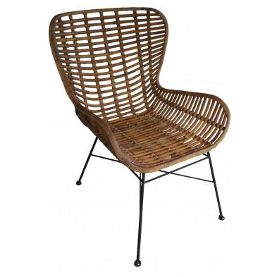 Chaise moderne en rotin naturel et piétement métal coloris naturel L. 60 x P. 70 x H. 88 cm collection