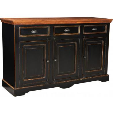 Buffet en bois de manguier et MDF avec 3 portes et 3 tiroirs coloris marron et noir antique L. 150 x P. 40 x H. 90 cm collection Geralda