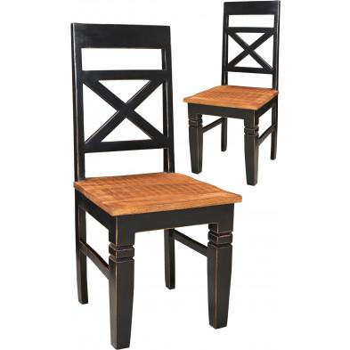Lot de 2 chaises contemporaines en bois de manguier coloris marron et noir antique L. 45 x P. 45 x H. 100 cm collection Geralda