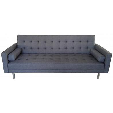 Canapé 3 places style moderne en tissu coloris anthracite L. 219 x P. 88 x H. 87 cm collection Askew