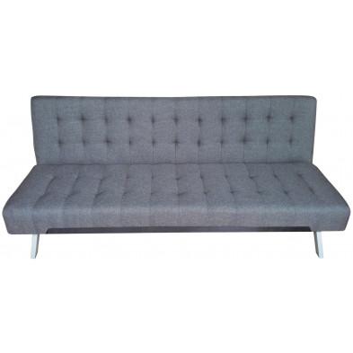 Canapé clic-clac style moderne en tissu coloris gris  L. 180 x P. 80 x H. 77 cm collection Askew
