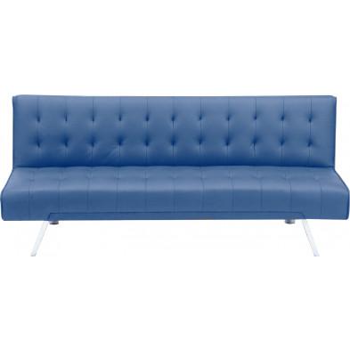 Canapé clic-clac style moderne en tissu coloris bleu L. 180 x P. 80 x H. 77 cm collection Askew